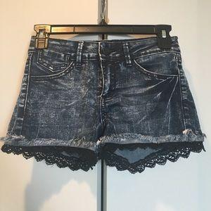 Dark denim washed jean shorts